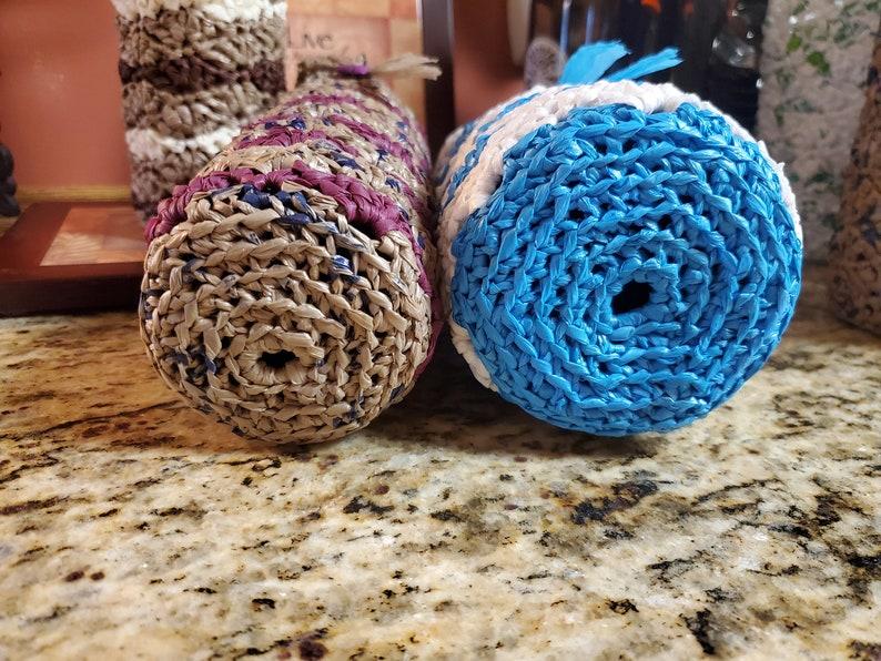 Dual-Color Custom Swallowtail Gift  Wine Bag Crochet Plarn Upcycled handbag Ecofriendly