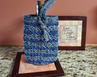 Dual-Color Wide Swallowtail Gift / Wine Bag Crochet Plarn Upcycled handbag Ecofriendly