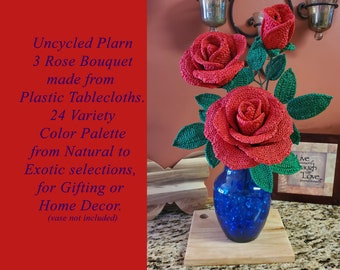 Uncycled Plarn 3 Rose Bouquet, Gift, Decoration