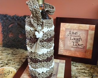 Tri-Color Custom Swallowtail Gift Crochet Plarn Upcycled handbag Ecofriendly