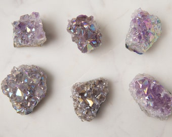 Amethyst Aura Quartz Cluster | Confetti Quartz Cluster | Crystal Cluster | Mermaid Holographic Crystal for Healing and Protection