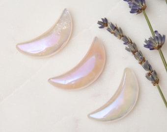 Aura Rose Quartz Moon Crystal Carving | Stone of Love