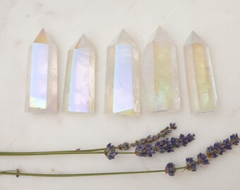Angel Aura Point Tower | Crystal Healing | Clear Quartz | Titanium Plated | Rainbow | Mermaid Finish | Opal Finish