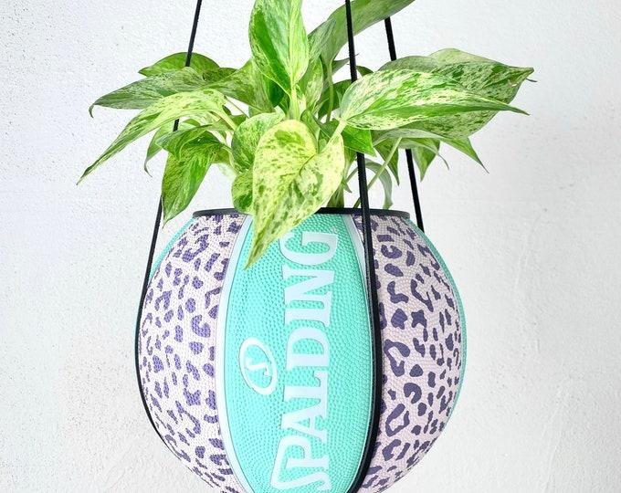 Leopard Mint Spalding Basketball Planter by Plantsketball