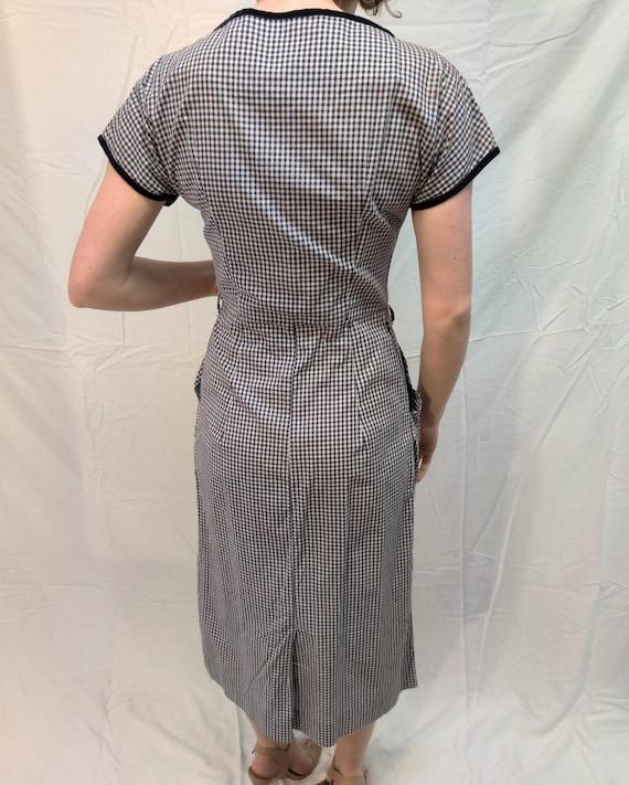 1940s navy gingham dress - image 7