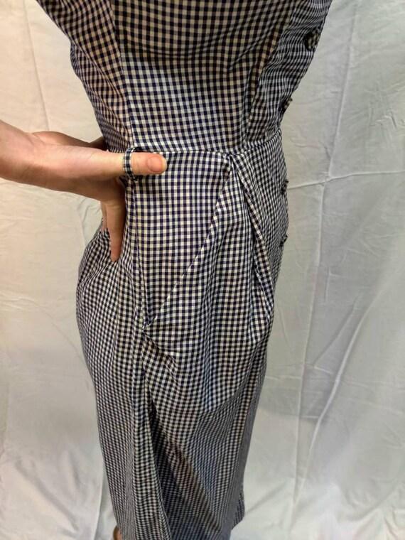1940s navy gingham dress - image 4