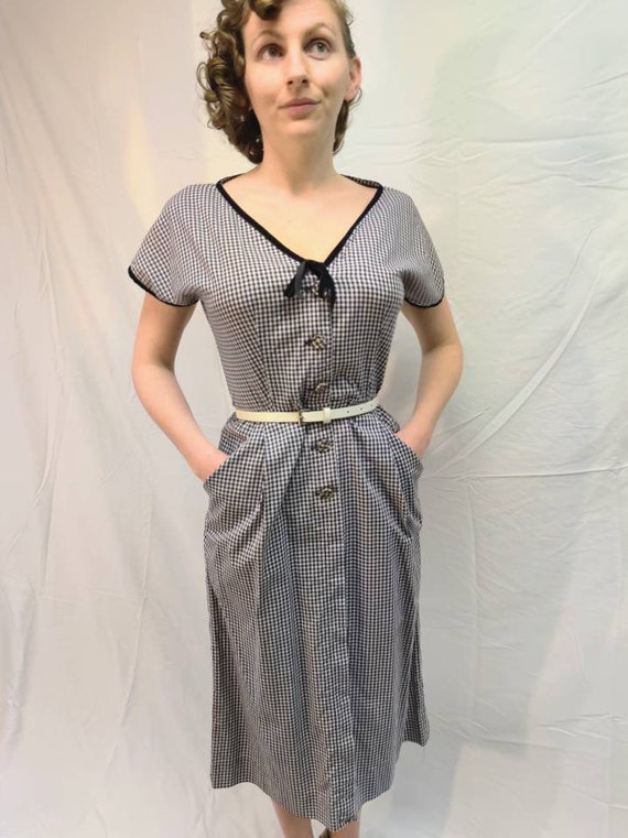 1940s navy gingham dress