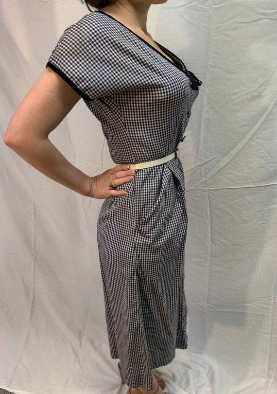 1940s navy gingham dress - image 5