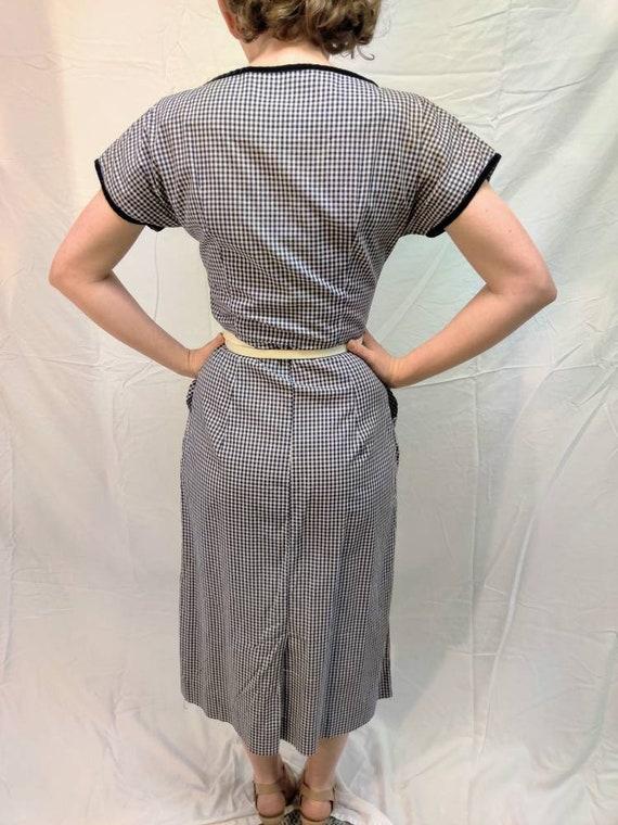 1940s navy gingham dress - image 3