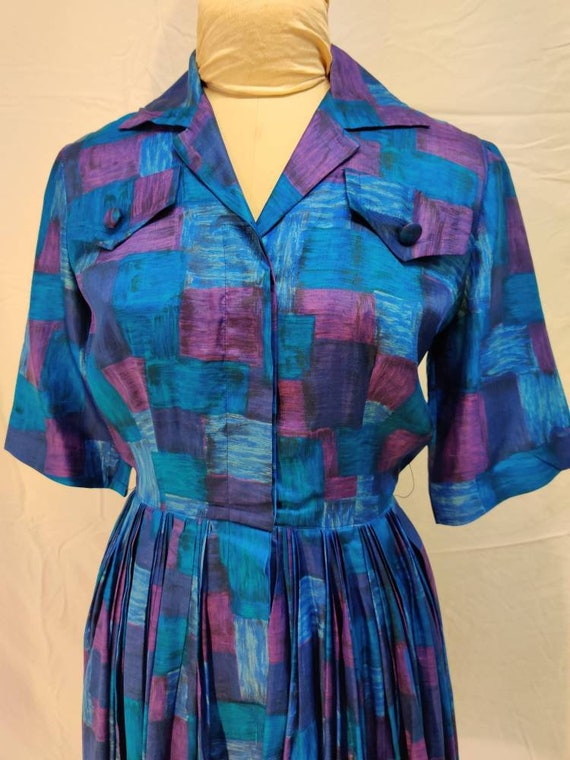 Late 1950s rich purple and blue abstract shirtdres