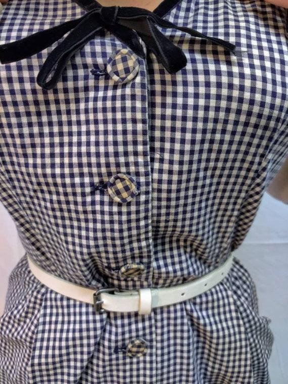1940s navy gingham dress - image 6