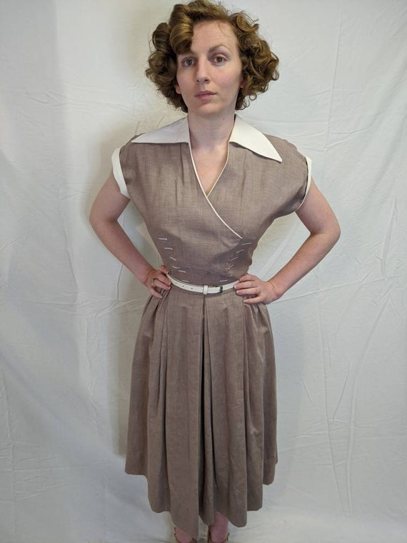 1940s light brown faux wrap style dress