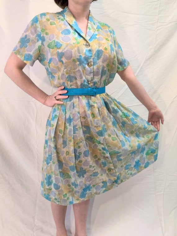 1950s sheer pastel blue, green, and purple, floral
