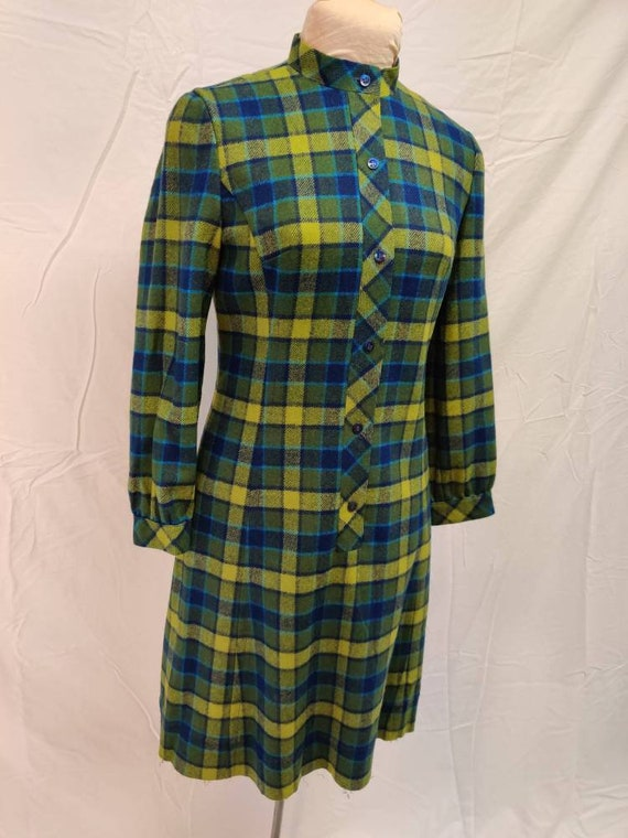 Late 60s blue and green plaid Pendleton dress