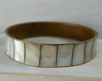 Vintage Brass /& Abalone Shell Bangle Bracelet Costume Jewelry Retro Statement Women Unsigned Thick Chunky Wide Square Blue White