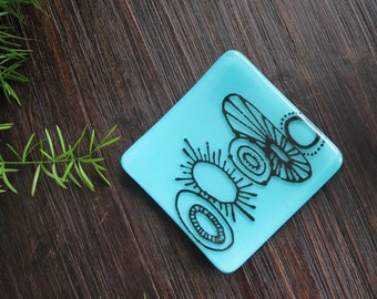 Patterned Dessert Serving Platter Aqua Blue Square Glass Dish with Hand Drawn Abstract Design Appetizer Glass Plate Jewelry Trinket Tray