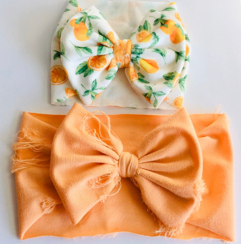 Permanently Sewn Wrap Girls Bow -Headband Big Baby Bow Stretchy Headwrap Little Cutie Orange Citrus Party Velvet Pull Proof