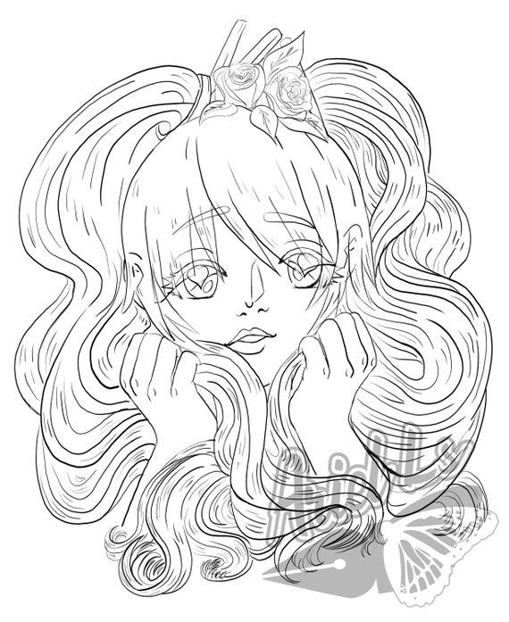 Hard Violet Anime Girl Coloring Page Pdf Jpeg Etsy