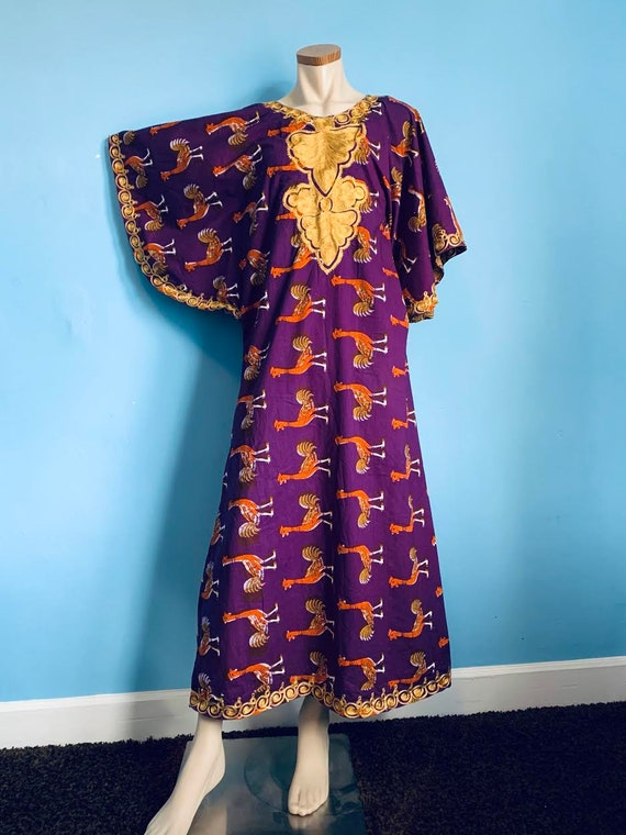 Outrageous 70s Psychedelic Ostrich Print Caftan