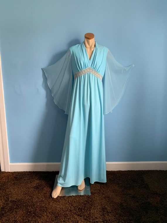 Magical 60's Blue Fairy Evening Gown with Sheer An