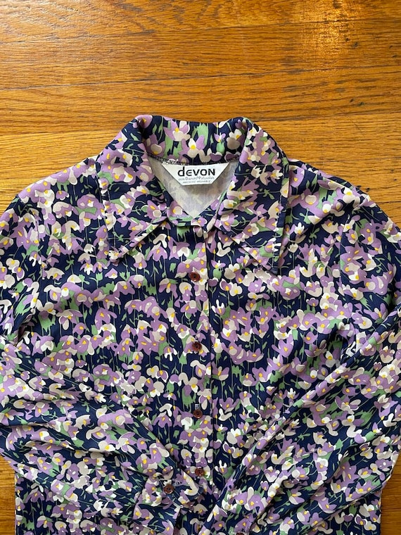 70s Dagger Collar Psychedelic Floral Print Polyes… - image 8