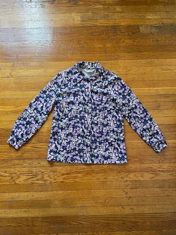 70s Dagger Collar Psychedelic Floral Print Polyes… - image 3