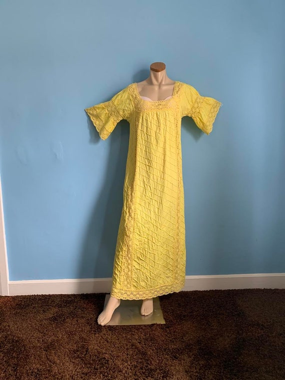 60's Cotton Boho Gown in Sunshine Yellow