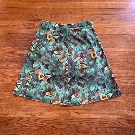 60s Avocado Print Skirt