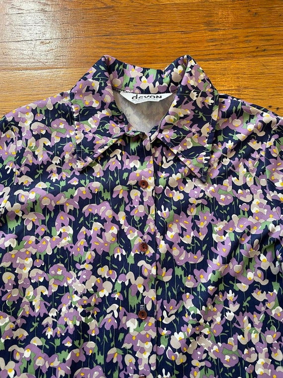 70s Dagger Collar Psychedelic Floral Print Polyes… - image 4