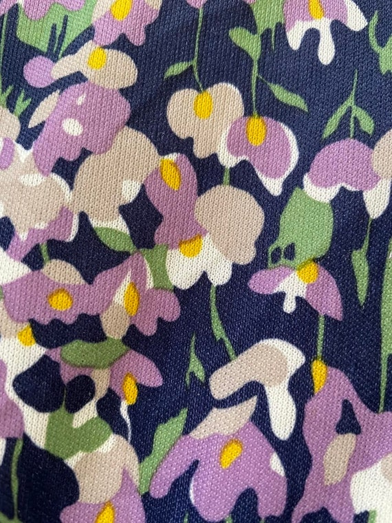 70s Dagger Collar Psychedelic Floral Print Polyes… - image 5