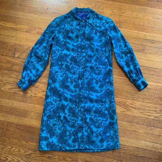 60s Paisley Shirt Dress with Bishop Sleeves & Dagg