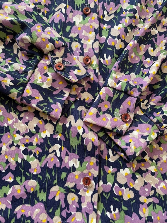 70s Dagger Collar Psychedelic Floral Print Polyes… - image 6