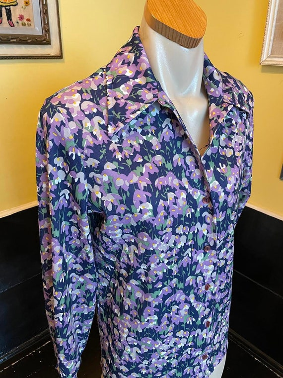 70s Dagger Collar Psychedelic Floral Print Polyes… - image 2