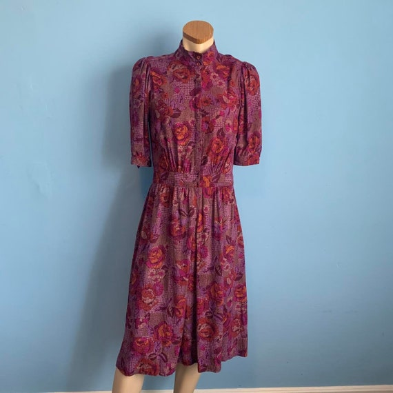 Early 80's Floral Shirt Dress with Puff Sleeves