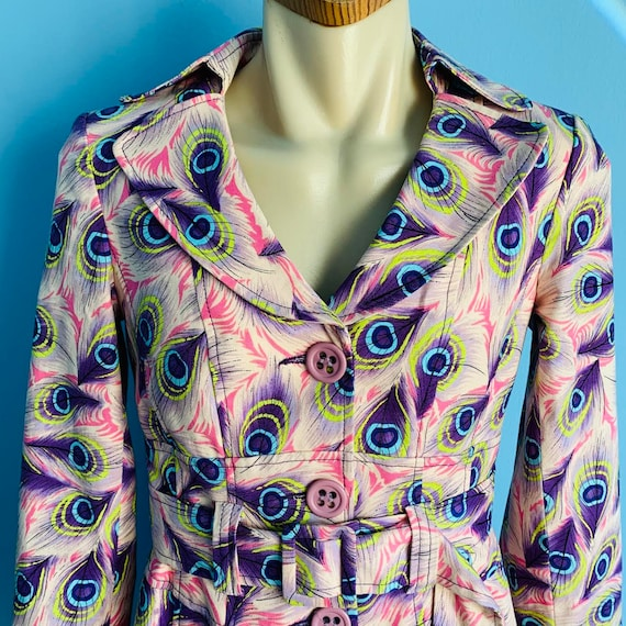 Vintage Nanette Lepore Peacock Feather Print Trenc