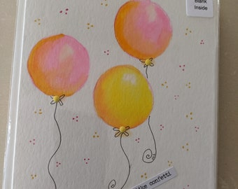Hand painted watercolor greeting card - balloons