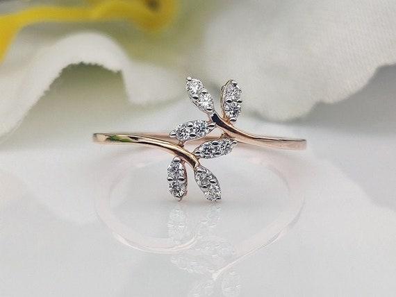 14K Modern Beaded Rose Gold Ring 14K Rose Solid Gold.