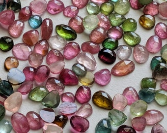 5.45 carats 18*07*04 mm Rose Cut Tourmaline Natural Gemstone Watermelon Tourmaline  Rosecut Gemstone