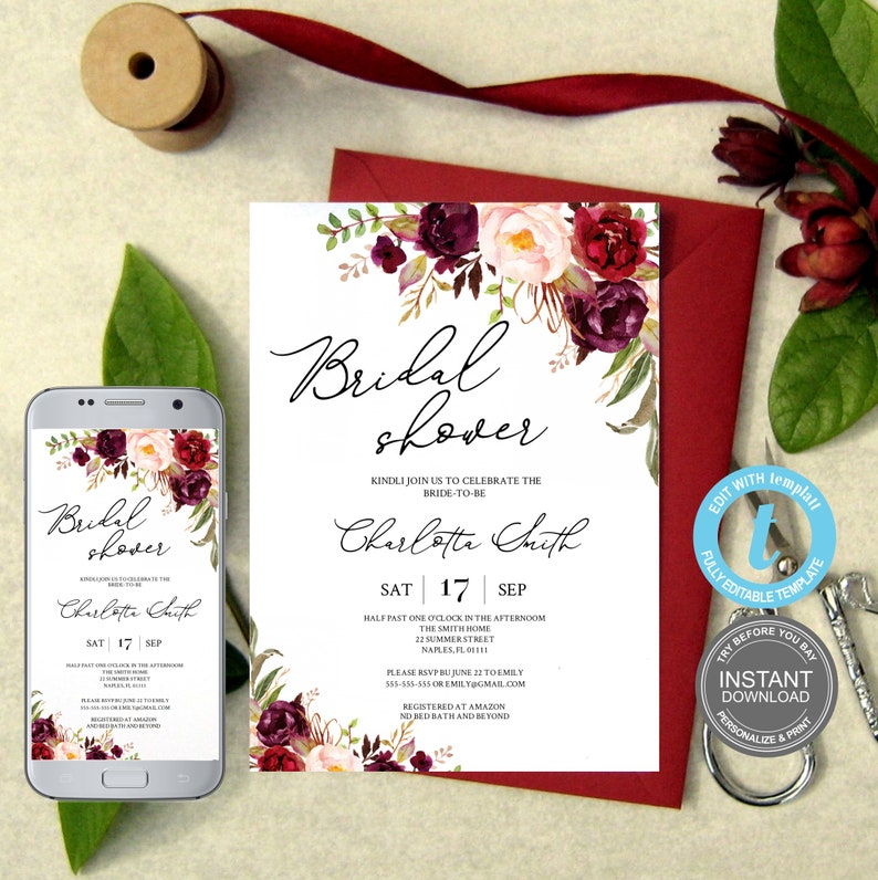 Watercolor Wedding FREE Demo Burgundy Bridal Shower Instant Download,Fully Editable,Electronic Invite Bridal Shower Template E201