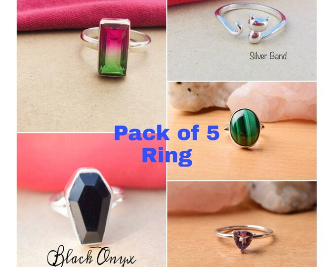 Wholesale Ring Value Pack Artisan  Gift Ring Lot Gemstone Ring Natural Gemstone Silver Ring Pack 5 Ring Pack in 925 Sterling Silver