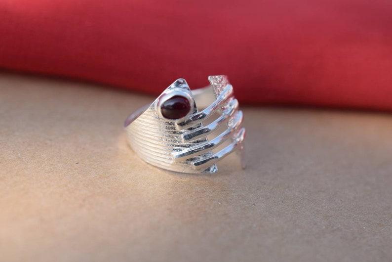 Red Stone Ring Artisan Ring Sterling Silver 925 Designer Ring Silver Ring Beautiful Ring Natural Stone Gemstone Jewelry Boho Ring