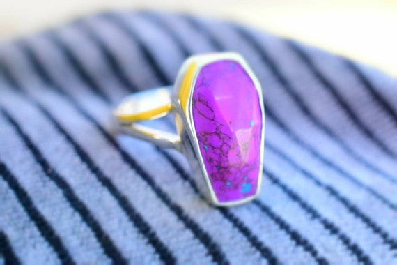 Dainty Ring Anniversary Gift Stack Ring Turquoise Jewelry Boho Ring Purple Copper Turquoise Ring In 925 Sterling Silver Birthday Gift