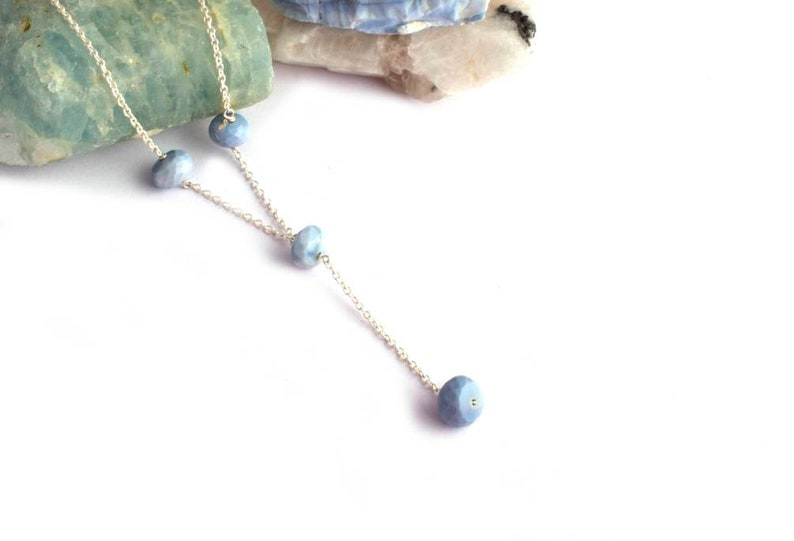 Shaded Gemstone Necklace Stone Pendant Gift For Her Rondelle Pigeon Blue Opal Pendant in 925 Sterling Silver Ethiopian Opal Pendant