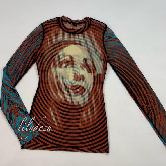 Vintage jean paul gaultier face print mesh t-shirt