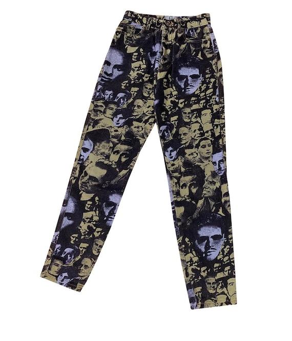 Vintage 90s Jean Paul Gaultier face printed jeans