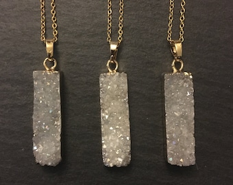 White Quartz Moon Druzy Crystal Necklace Gold Plated  Helps Emotional Problems  Purifies Negativity  Boosts Creativity /& Imagination
