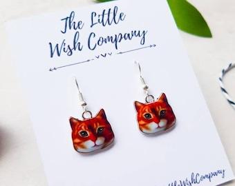 Crazy Cat Lady Gift Cat Droppers Kitty Earrings Kitten Earrings Orange Cat Dangles Ginger Cat Earrings Cat Lover Gift Cat Jewellery