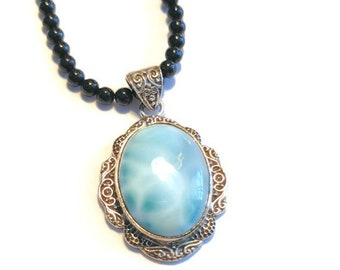 Artisan Crafted Larimar Pendant with Thai Black Spinel Beads Necklace (20 in) in Platinum over Sterling Silver 60.27 ctw.