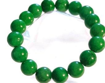 Burmese Green Jade (12-14 mm) Beads Bracelet (234.50 ctw.)