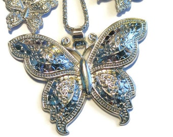 Butterfly Pendant Necklace & Earrings In Stainless Steel, Goldtone or Rosetone over Stainless Steel (30 in)